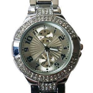 """Ashley """"Princess"""" Stainless Steel Crystal Watch"""